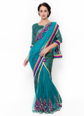 Graceful & Gorgeous Green Colored Net & Brasso Lehenga Saree