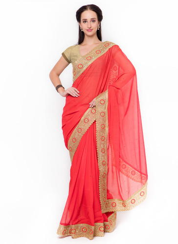 Graceful & Gorgeous Red Colored Chiffon Saree