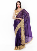 Graceful & Gorgeous Purple Colored Lycra Saree