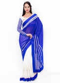 Graceful & Gorgeous Blue & Off White Colored Georgette Saree