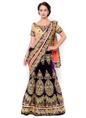 Graceful & Gorgeous Violet & Orange Colored Velvet & Net Lehenga Saree