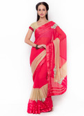 Graceful & Gorgeous Pink & Beige Colored Georgette & Lycra Saree