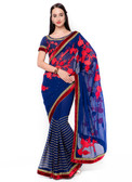 Graceful & Gorgeous Blue Colored Georgette Saree