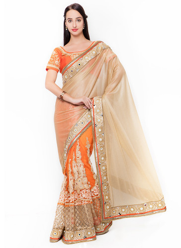 Graceful & Gorgeous Beige & Orange Colored Lycra & Net Saree