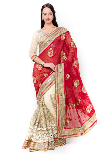 Graceful & Gorgeous Red & Off White Colored Jacquard & Net Saree
