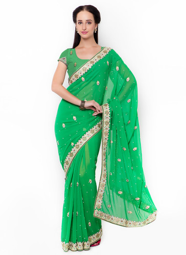 Graceful & Gorgeous Green Colored Georgette Saree