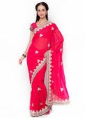 Graceful & Gorgeous Pink Colored Georgette Pretty Saree