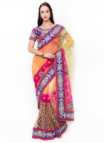 Graceful & Gorgeous Yellow, Orange & Pink Colored Net Saree