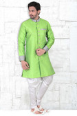 Vibrant & Handsomely Tailored Parrot Green Colored Banarasi Silk Men's Kurta