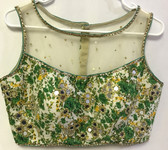 Premium Saree Blouse Choli Padded beige green floral beaded