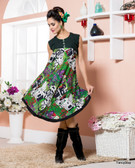 Vibrant In Style Black, Off White & Green Color Cotton Rayon Kurti