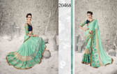 Graceful & Enchanting Sky Blue Colored Satin Georgette And Net Saree