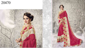 Graceful & Enchanting Peach Colored Georgette And Net Saree