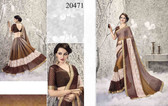Graceful & Enchanting Brown Colored Satin Georgette And Net Saree