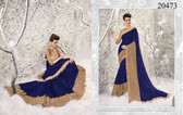 Graceful & Enchanting Blue And Beige Colored Chiffon And Net Saree