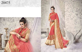 Graceful & Enchanting Peach Colored Georgette And Net Fabric Saree