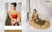Graceful & Enchanting Brown Gold Colored Satin Jacquard And Net Saree