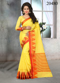 Attractive & Stylish Yellow Colored Cotton Jute Saree