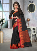 Attractive & Stylish Black Colored Cotton Jute Saree