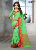 Attractive & Stylish Green Colored Cotton Jute Saree