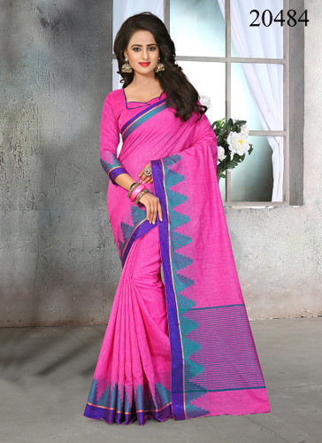 Attractive & Stylish Pink Colored Cotton Jute Saree