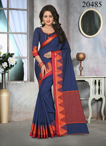 Attractive & Stylish Navy Blue Colored Cotton Jute Saree