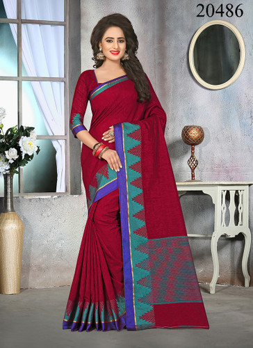 Attractive & Stylish Maroon Colored Cotton Jute Saree