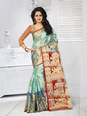 Vibrant & Classy Sky Blue Colored Tissue Silk Saree