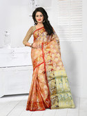 Vibrant & Classy Orange Colored Tissue Silk Saree