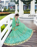 Uniquely Classy Green Colored Georgette & Rasal Net Saree