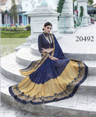 Uniquely Classy Navy Blue & Beige Colored Georgette & Rasal Net Saree