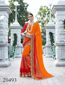 Uniquely Classy Orange & Red Colored Georgette & Rasal Net Saree