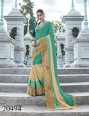 Uniquely Classy Green & Beige Colored Georgette & Rasal Net Saree