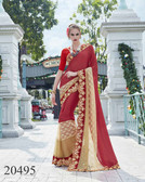 Uniquely Classy Maroon & Beige Colored Georgette & Rasal Net Saree