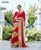 Uniquely Classy Red Colored Chiffon & Rasal Net Saree