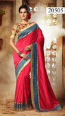 Elegant & Alluring Peach Colored Dupion Silk Saree