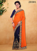Stunningly Trendy Orange And Blue Colored Satin Georgette Saree