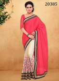Stunningly Trendy Pink And Beige Colored Chiffon And Net Saree