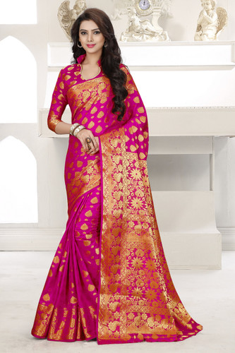 Gorgeous & Vibrant Pink Colored Banarasi Silk Saree