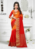 Incredibly Alluring Orange & Red Colored Cotton Jute Saree