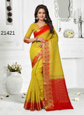 Incredibly Alluring Mustard Colored Cotton Jute Saree