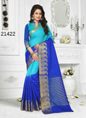 Incredibly Alluring Blue Colored Cotton Jute Saree