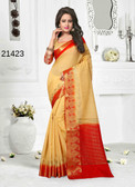 Incredibly Alluring Beige Colored Cotton Jute Saree