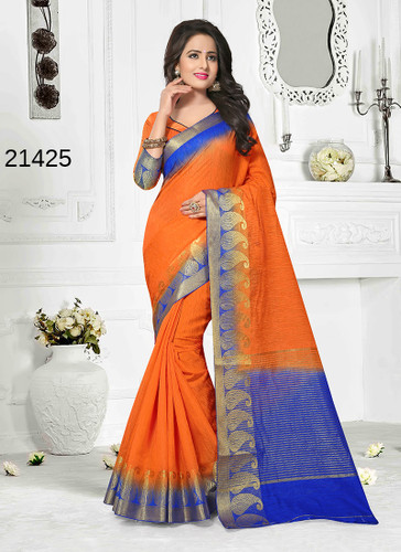Incredibly Alluring Orange Colored Cotton Jute Saree