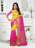 Incredibly Alluring Yellow & Pink Colored Cotton Jute Saree