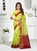 Incredibly Alluring Green Colored Cotton Jute Saree