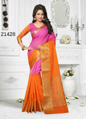 Incredibly Alluring Pink & Orange Colored Cotton Jute Saree