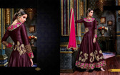 Enchanting Magenta Colored Banarasi Silk Fabric Anarkali Suit