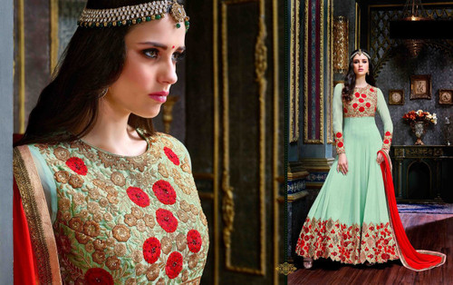 Enchanting Green Colored Georgette And Banarasi Silk Fabric Anarkali Suit