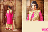 Vibrant & Graceful Pink Colored Banarasi Silk And Net Jacket Suit